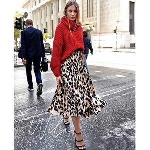 Leopard print pleated midi skirt 801770